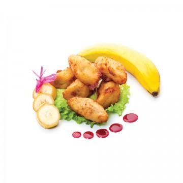 Banany w tempurze z sosem z czarnej porzeczki
